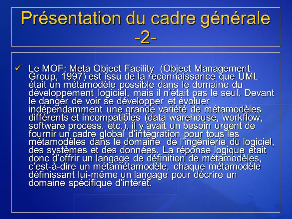 Le MOF: Meta Object Facility (Object Management Group, 1997) est issu de la reconnaissance que UML était un métamodèle possible dans le domaine du dév
