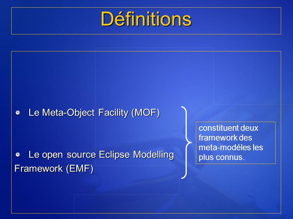Le Meta-Object Facility (MOF) Le open source Eclipse Modelling Framework (EMF) Définitions constituent deux framework des meta-modéles les plus connus