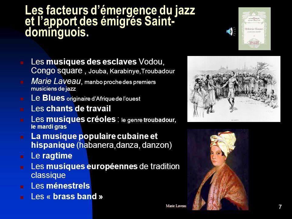 6 Musiciens originaires de Saint-Domingue à la Nouvelle-Orléans avant la naissance du jazz. Louis-Moreau Gottschalk, un blanc originaire de Saint- Dom