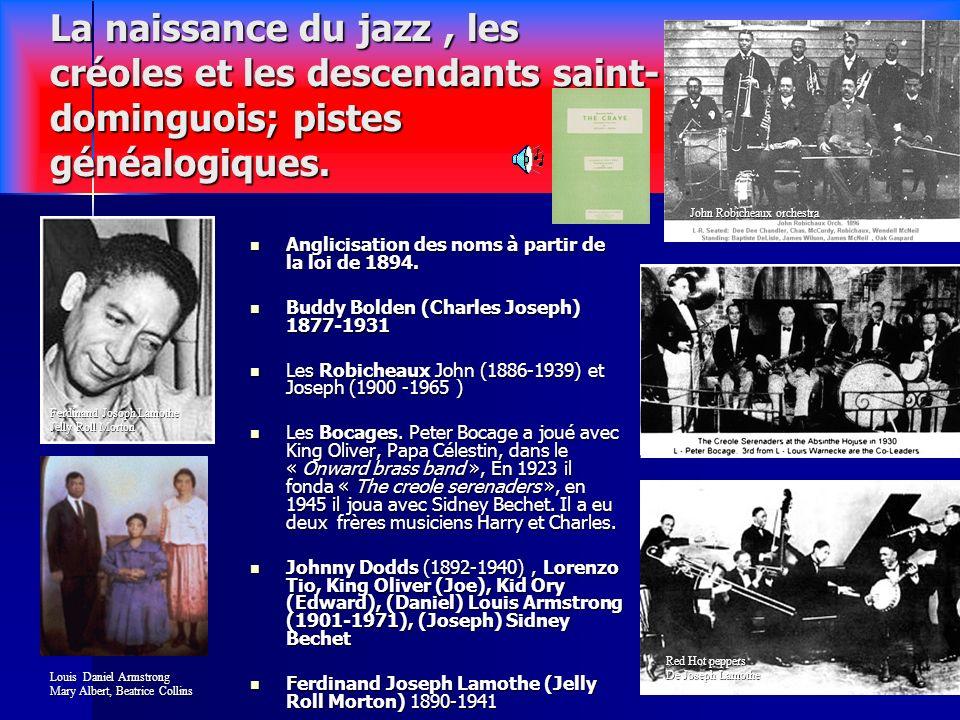 7 Les facteurs démergence du jazz et lapport des émigrés Saint- dominguois. Les musiques des esclaves Vodou, Congo square, Jouba, Karabinye,Troubadour