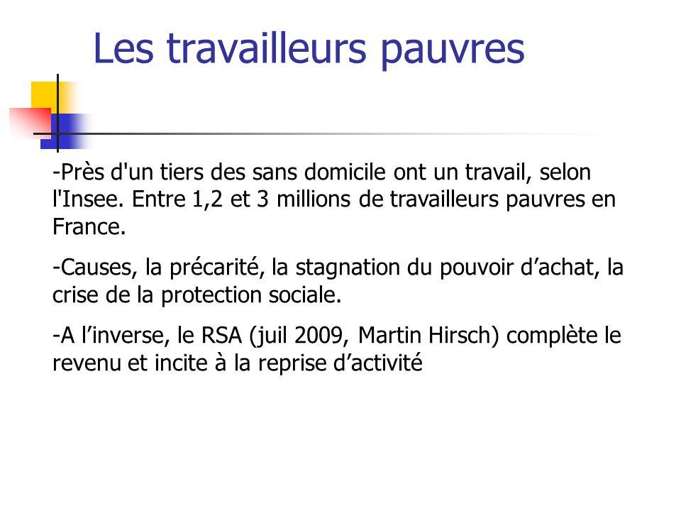 Les travailleurs pauvres -Près d'un tiers des sans domicile ont un travail, selon l'Insee. Entre 1,2 et 3 millions de travailleurs pauvres en France.