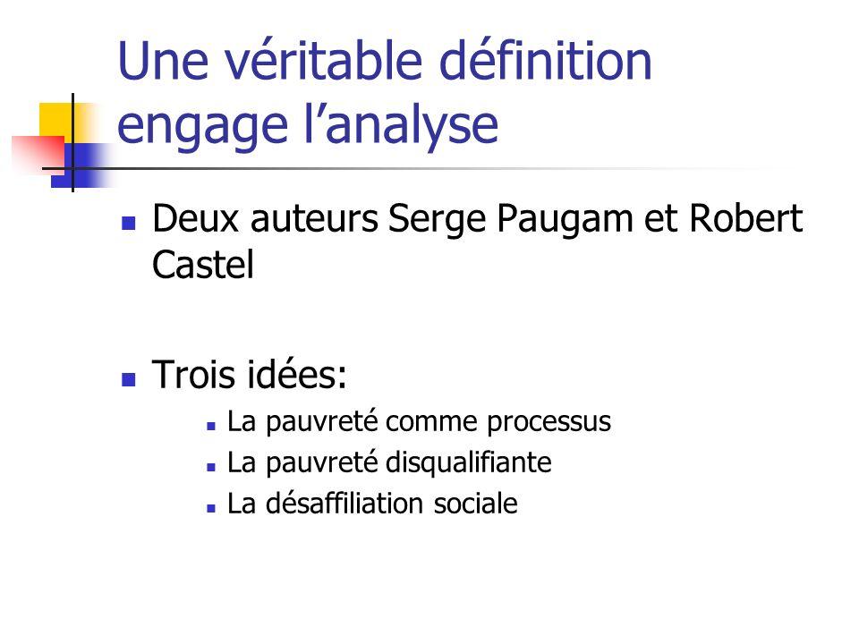 Une véritable définition engage lanalyse Deux auteurs Serge Paugam et Robert Castel Trois idées: La pauvreté comme processus La pauvreté disqualifiant