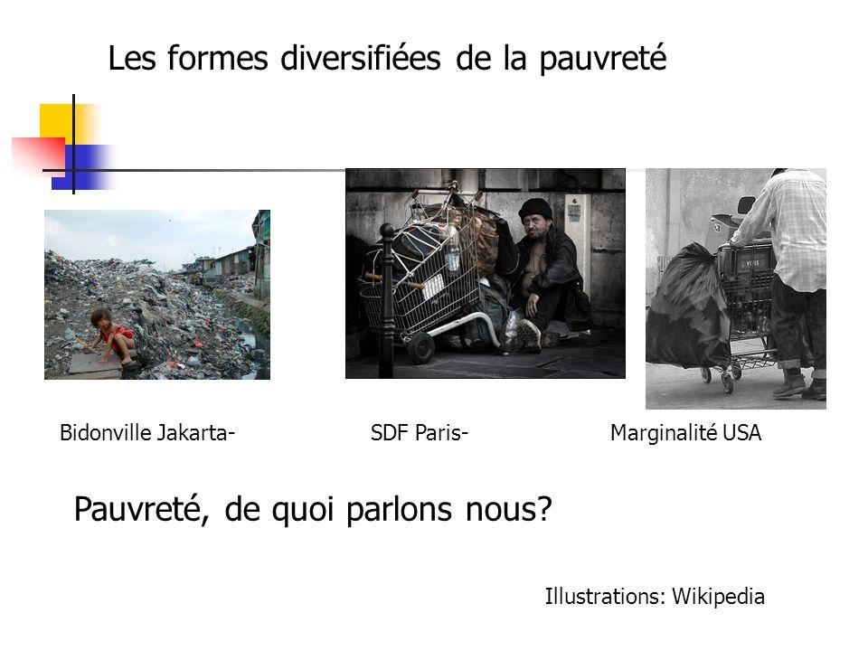 Bidonville Jakarta- SDF Paris- Marginalité USA Les formes diversifiées de la pauvreté Pauvreté, de quoi parlons nous? Illustrations: Wikipedia
