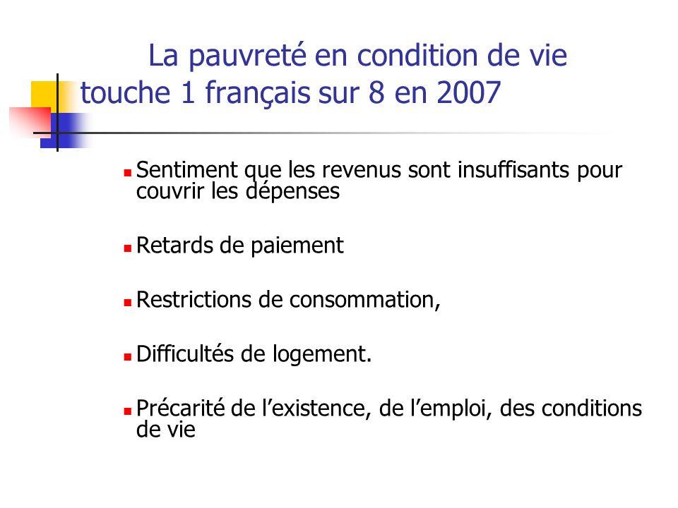 La pauvreté en condition de vie touche 1 français sur 8 en 2007 Sentiment que les revenus sont insuffisants pour couvrir les dépenses Retards de paiem