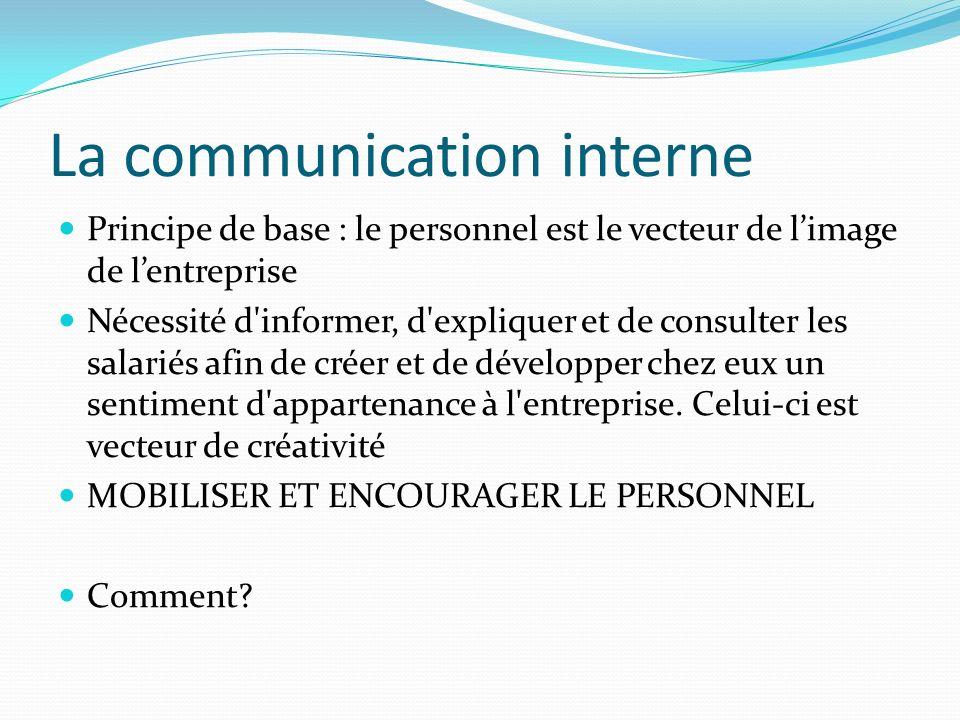 La communication interne Principe de base : le personnel est le vecteur de limage de lentreprise Nécessité d'informer, d'expliquer et de consulter les
