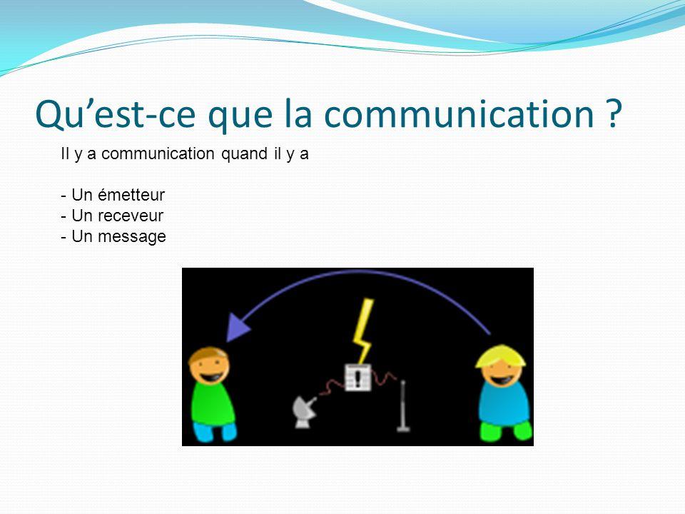 Quest-ce que la communication ? Il y a communication quand il y a - Un émetteur - Un receveur - Un message