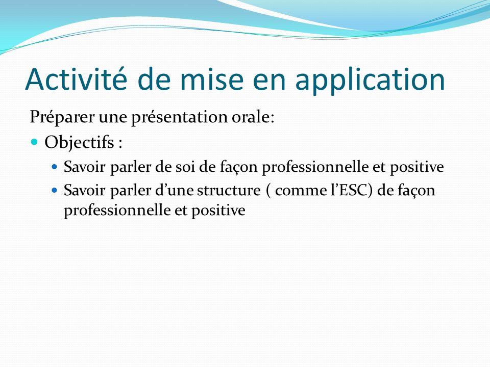 Activité de mise en application Préparer une présentation orale: Objectifs : Savoir parler de soi de façon professionnelle et positive Savoir parler d