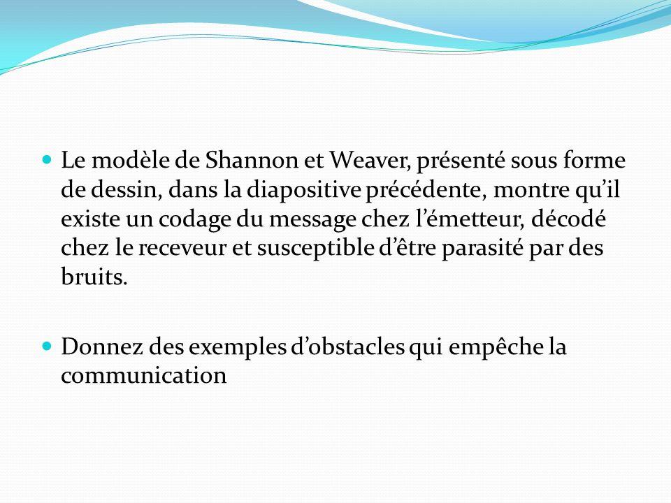 Le modèle de Shannon et Weaver, présenté sous forme de dessin, dans la diapositive précédente, montre quil existe un codage du message chez lémetteur,