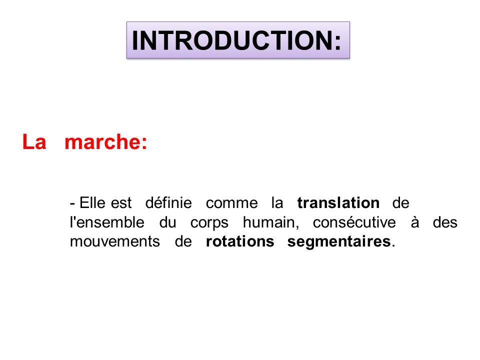 La marche: - Elle est définie comme la translation de l'ensemble du corps humain, consécutive à des mouvements de rotations segmentaires. INTRODUCTION