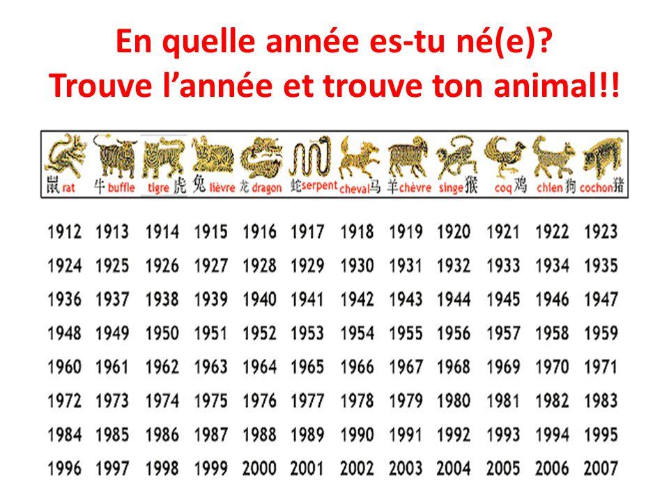 En quelle année es-tu né(e)? Trouve lannée et trouve ton animal!!