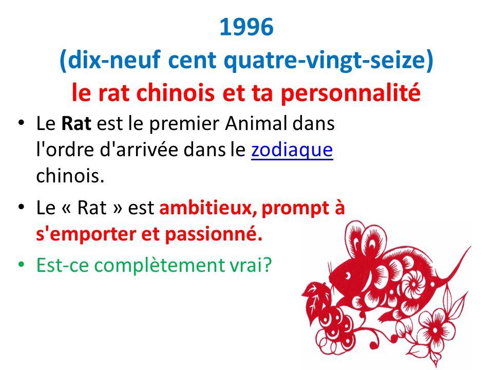 1996 (dix-neuf cent quatre-vingt-seize) le rat chinois et ta personnalité Le Rat est le premier Animal dans l'ordre d'arrivée dans le zodiaque chinois