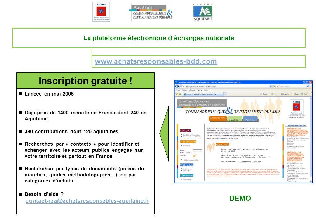 www.achatsresponsables-bdd.com La plateforme électronique déchanges nationale Inscription gratuite ! Lancée en mai 2008 Déjà prés de 1400 inscrits en