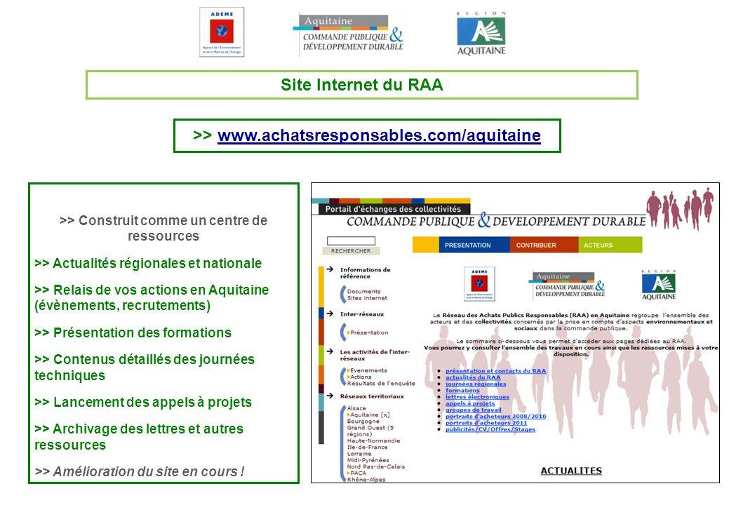 Site Internet du RAA >> Construit comme un centre de ressources >> Actualités régionales et nationale >> Relais de vos actions en Aquitaine (évènement