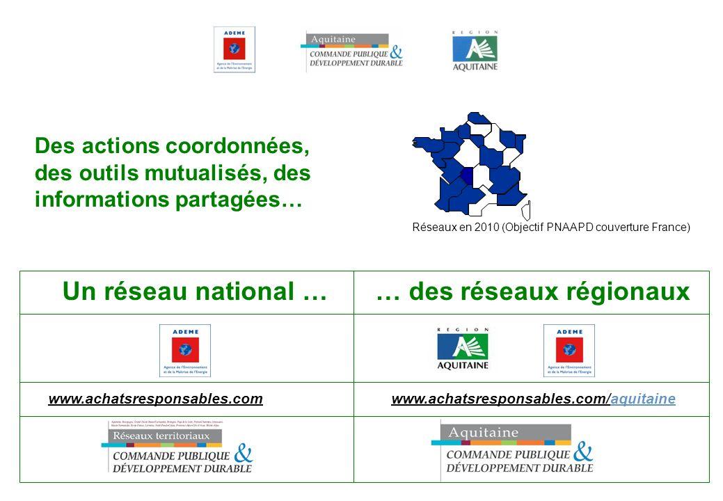 Un réseau national … www.achatsresponsables.com www.achatsresponsables.com/aquitaine … des réseaux régionaux Réseaux en 2010 (Objectif PNAAPD couvertu