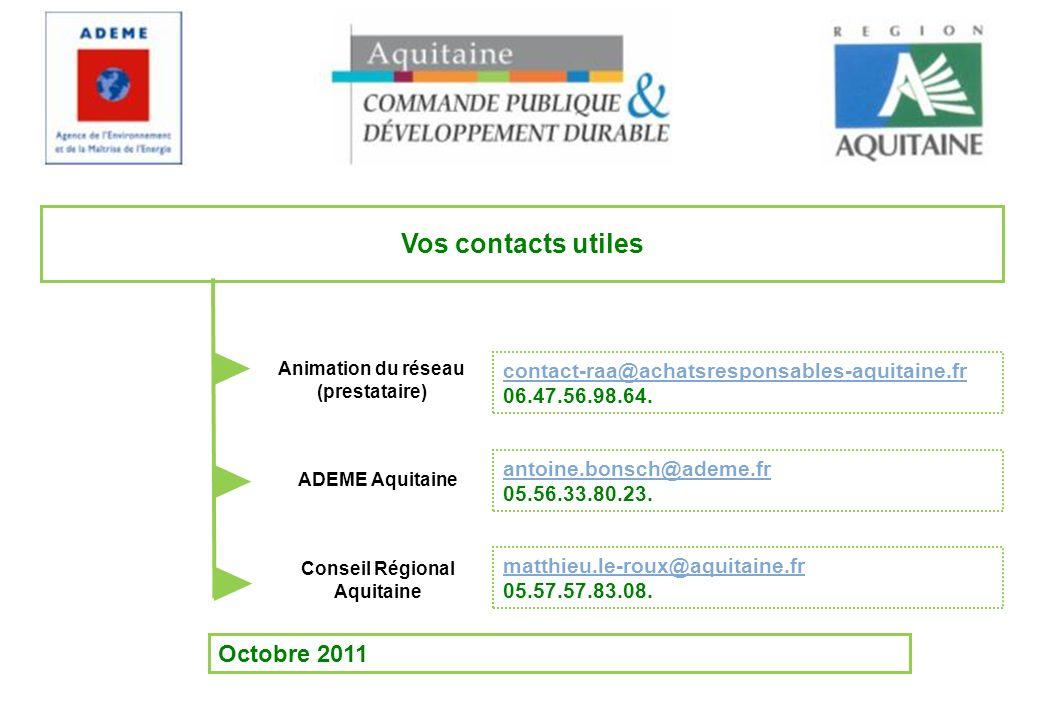 Octobre 2011 Vos contacts utiles antoine.bonsch@ademe.fr 05.56.33.80.23. contact-raa@achatsresponsables-aquitaine.fr 06.47.56.98.64. Animation du rése