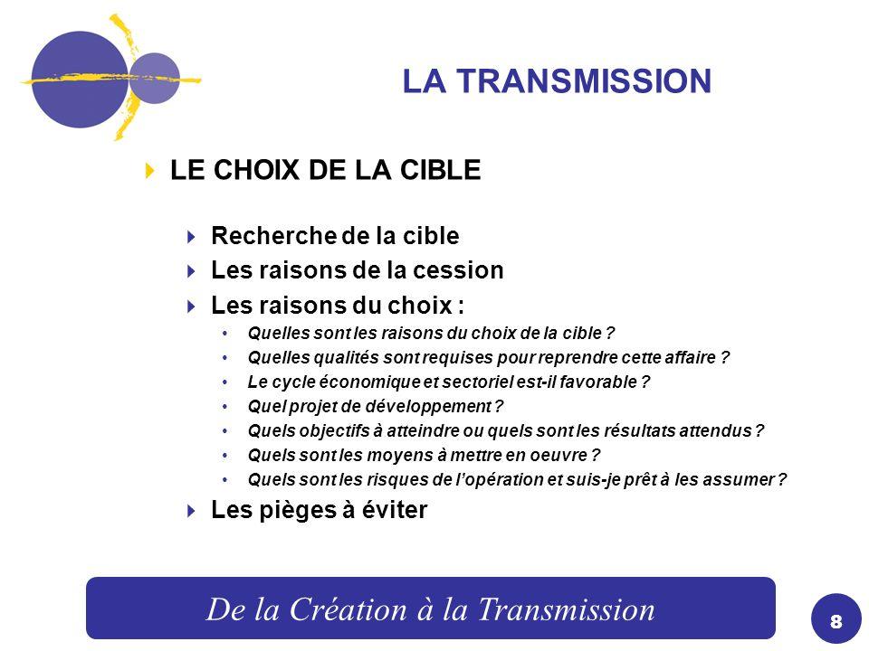9 LA TRANSMISSION LA NEGOCIATION – VALORISATION DE LA CIBLE Choix de la méthode dévaluation Prise en compte des risques Prise en compte des besoins de recapitalisation.