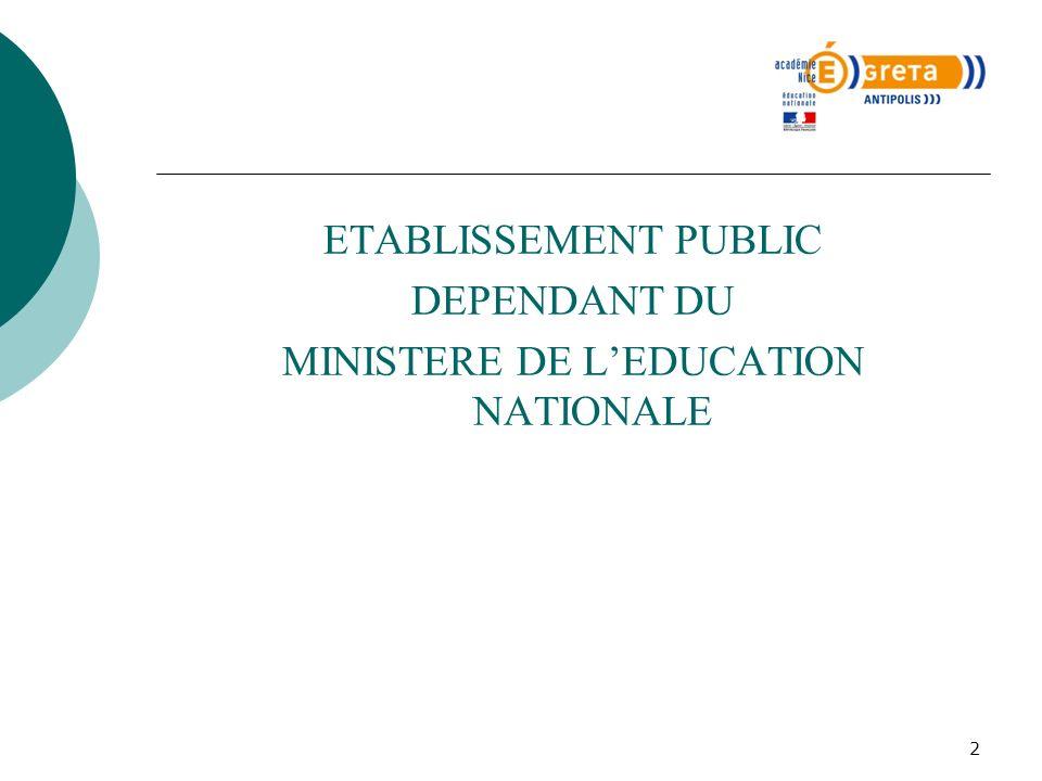 2 ETABLISSEMENT PUBLIC DEPENDANT DU MINISTERE DE LEDUCATION NATIONALE
