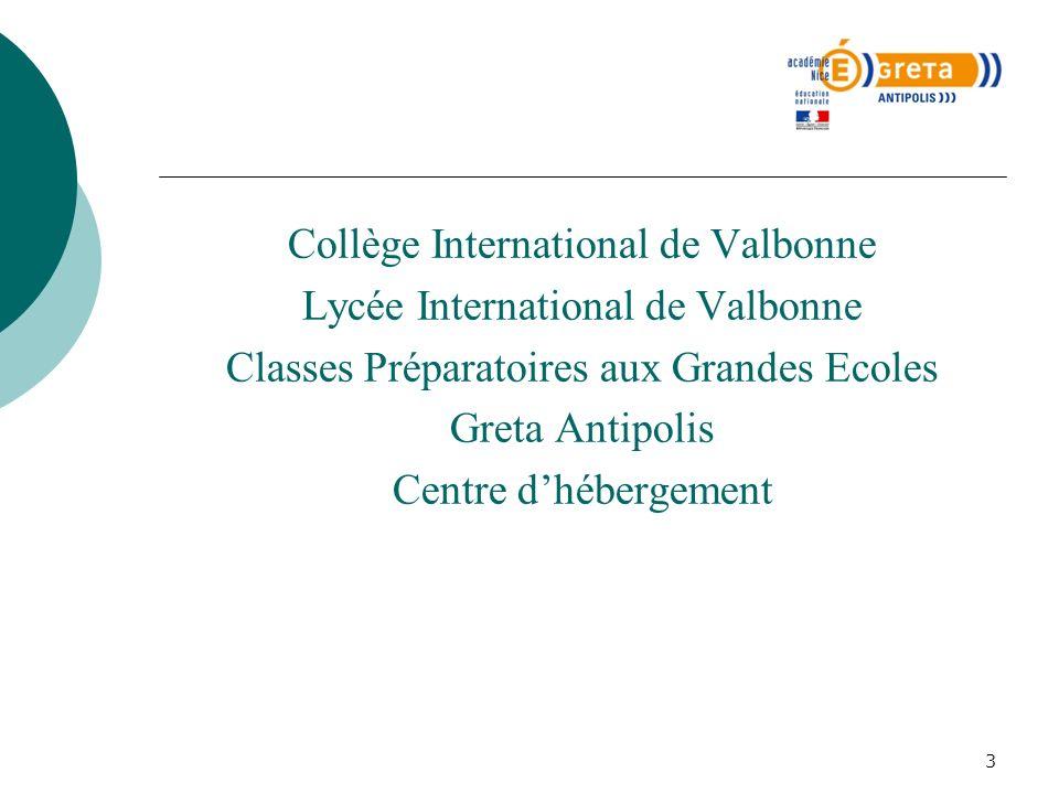 3 Collège International de Valbonne Lycée International de Valbonne Classes Préparatoires aux Grandes Ecoles Greta Antipolis Centre dhébergement