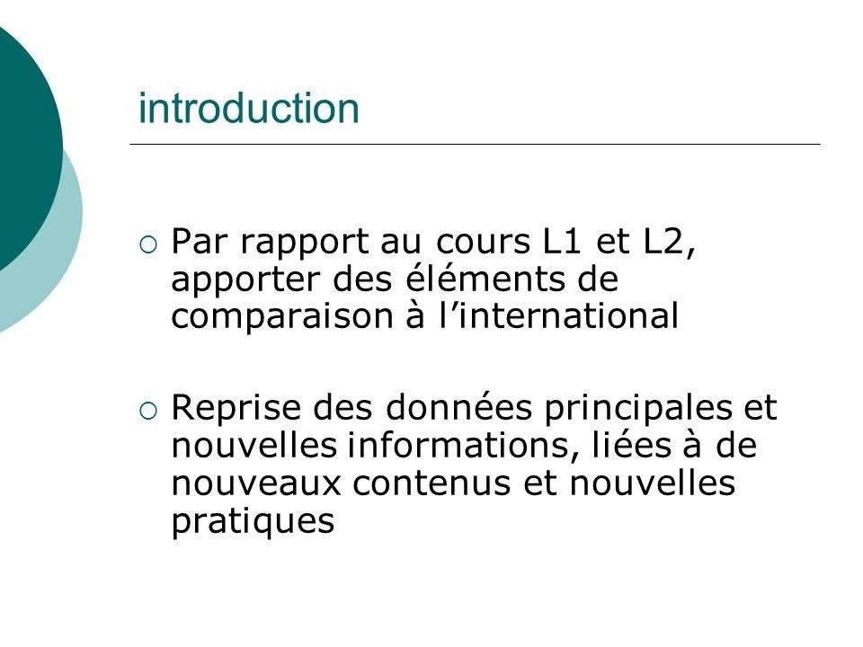 introduction Par rapport au cours L1 et L2, apporter des éléments de comparaison à linternational Reprise des données principales et nouvelles informa