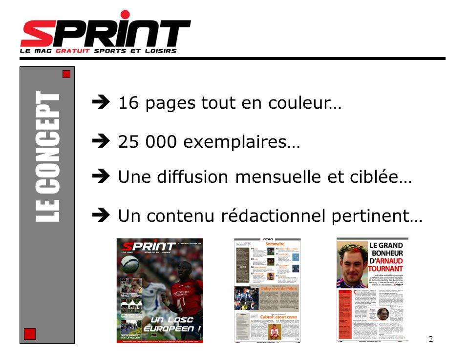2 Un contenu rédactionnel pertinent… LE CONCEPT Une diffusion mensuelle et ciblée… 16 pages tout en couleur… 25 000 exemplaires…