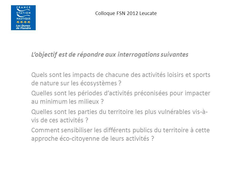 Colloque FSN 2012 Leucate Lobjectif est de répondre aux interrogations suivantes Quels sont les impacts de chacune des activités loisirs et sports de nature sur les écosystèmes .