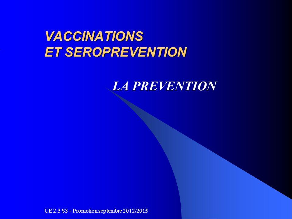 UE 2.5 S3 - Promotion septembre 2012/2015 VACCINATIONS ET SEROPREVENTION LA PREVENTION