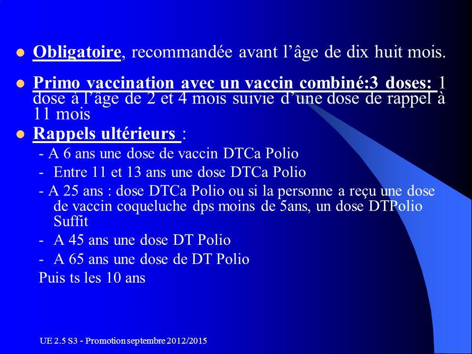 UE 2.5 S3 - Promotion septembre 2012/2015 Obligatoire, recommandée avant lâge de dix huit mois. Primo vaccination avec un vaccin combiné:3 doses: 1 do
