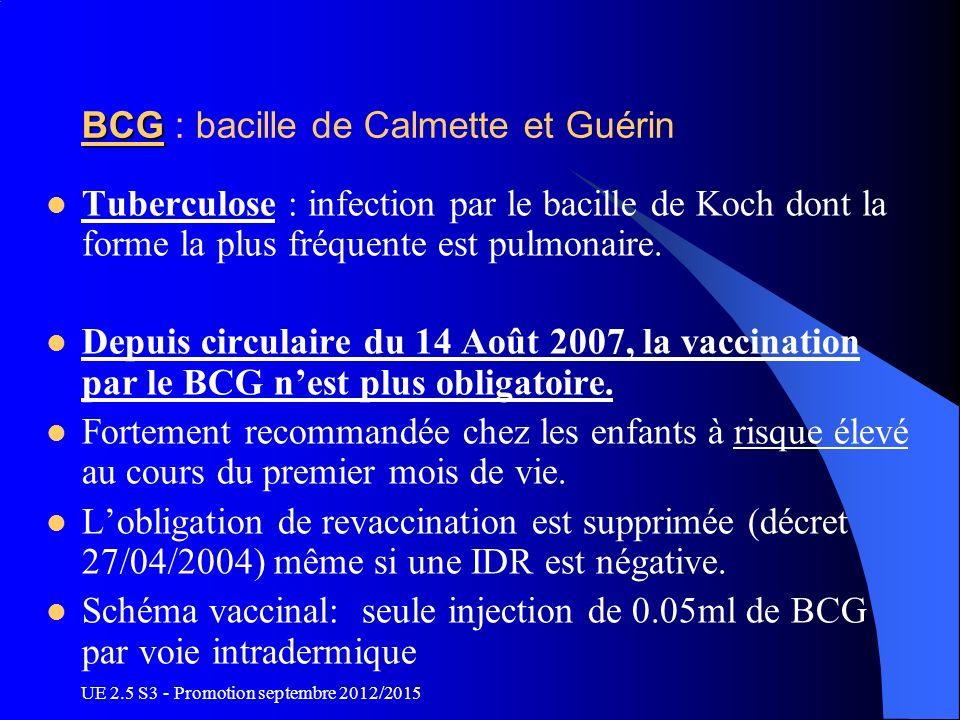 UE 2.5 S3 - Promotion septembre 2012/2015 BCG BCG : bacille de Calmette et Guérin Tuberculose : infection par le bacille de Koch dont la forme la plus