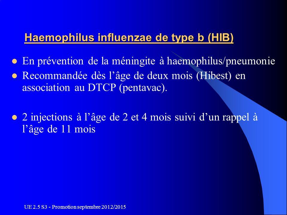UE 2.5 S3 - Promotion septembre 2012/2015 Haemophilus influenzae de type b (HIB) En prévention de la méningite à haemophilus/pneumonie Recommandée dès