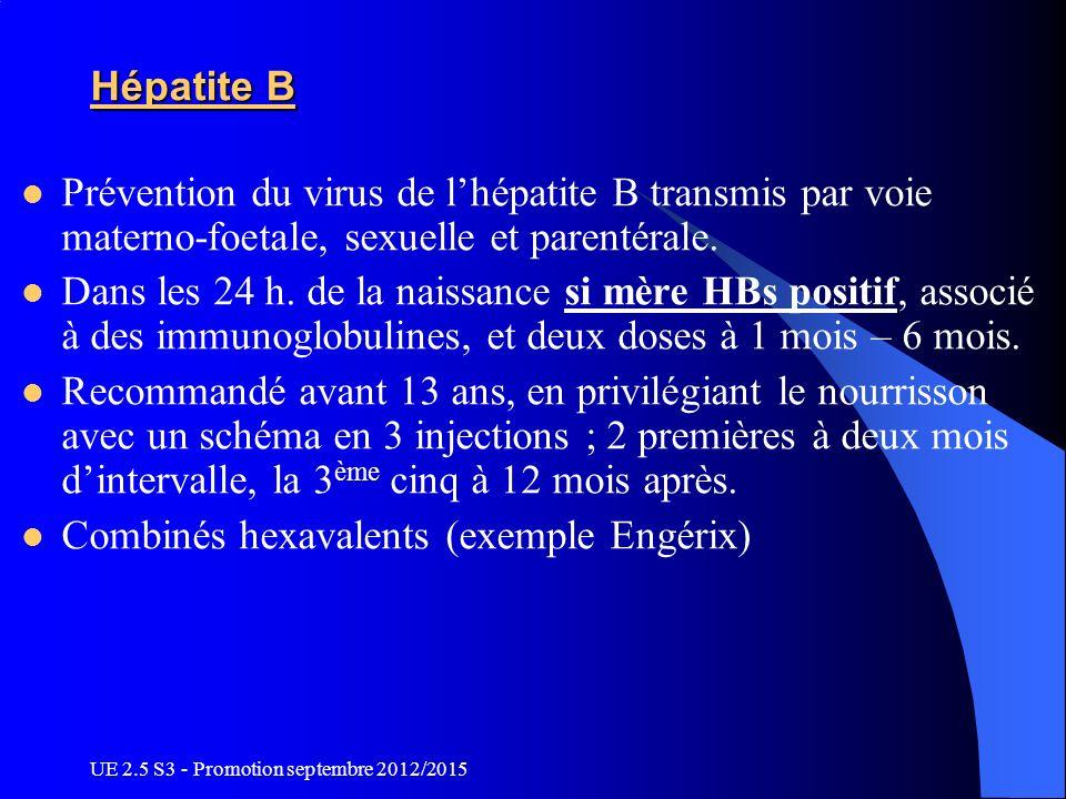 UE 2.5 S3 - Promotion septembre 2012/2015 Hépatite B Prévention du virus de lhépatite B transmis par voie materno-foetale, sexuelle et parentérale. Da