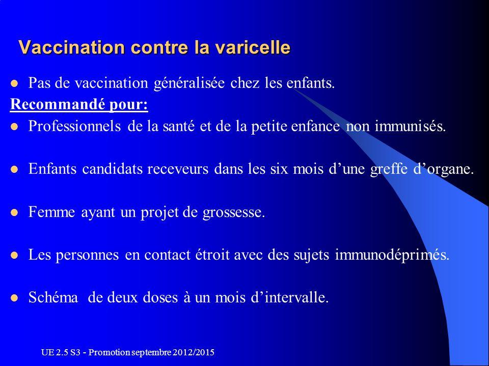UE 2.5 S3 - Promotion septembre 2012/2015 Vaccination contre la varicelle Pas de vaccination généralisée chez les enfants. Recommandé pour: Profession