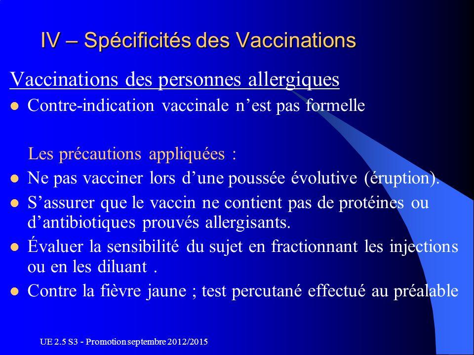 UE 2.5 S3 - Promotion septembre 2012/2015 IV – Spécificités des Vaccinations Vaccinations des personnes allergiques Contre-indication vaccinale nest p