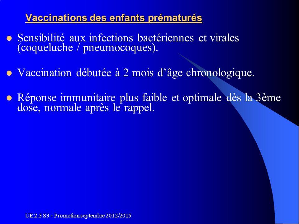 UE 2.5 S3 - Promotion septembre 2012/2015 Vaccinations des enfants prématurés Sensibilité aux infections bactériennes et virales (coqueluche / pneumoc
