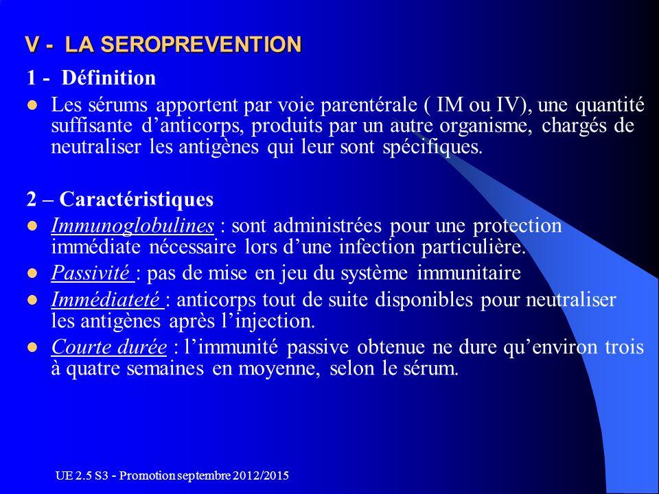 UE 2.5 S3 - Promotion septembre 2012/2015 V - LA SEROPREVENTION 1 - Définition Les sérums apportent par voie parentérale ( IM ou IV), une quantité suf