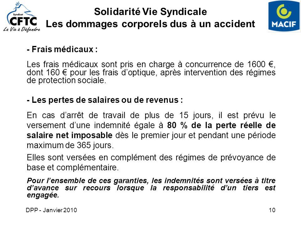 DPP - Janvier 201010 Solidarité Vie Syndicale Les dommages corporels dus à un accident - Frais médicaux : Les frais médicaux sont pris en charge à con