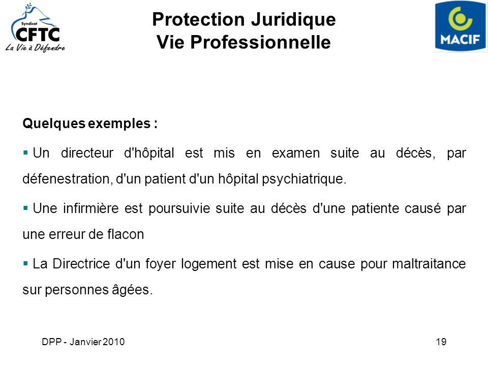 DPP - Janvier 201019 Protection Juridique Vie Professionnelle Quelques exemples : Un directeur d'hôpital est mis en examen suite au décès, par défenes