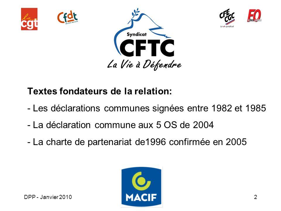 DPP - Janvier 20102 Textes fondateurs de la relation: - Les déclarations communes signées entre 1982 et 1985 - La déclaration commune aux 5 OS de 2004