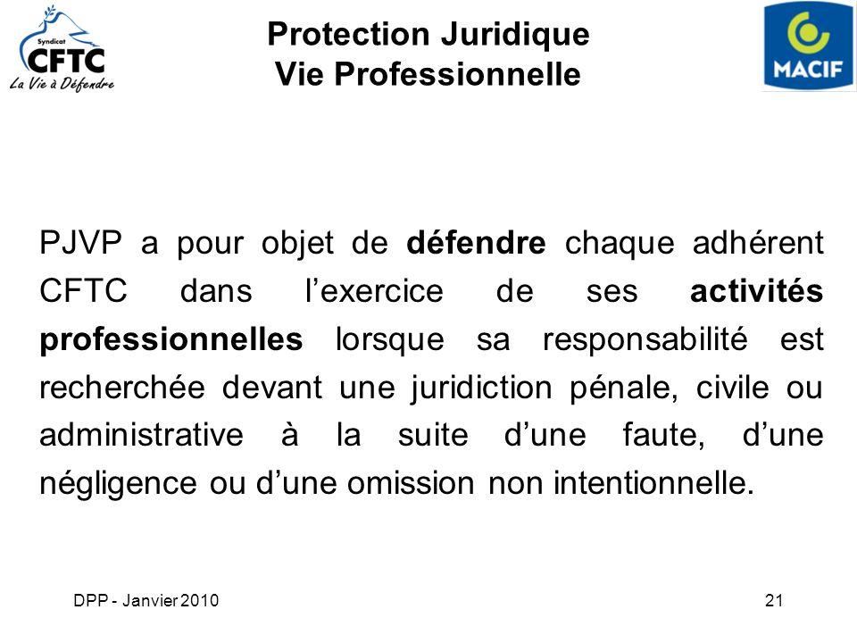 DPP - Janvier 201021 Protection Juridique Vie Professionnelle PJVP a pour objet de défendre chaque adhérent CFTC dans lexercice de ses activités profe
