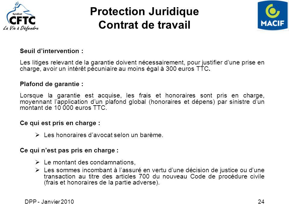 DPP - Janvier 201024 Protection Juridique Contrat de travail Seuil dintervention : Les litiges relevant de la garantie doivent nécessairement, pour ju