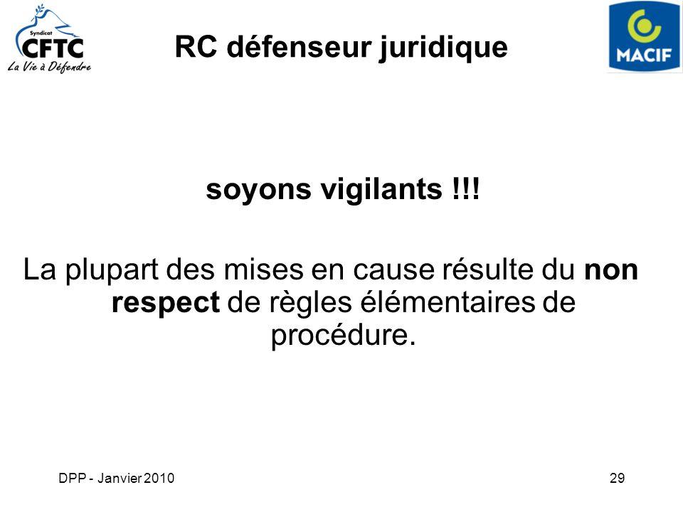 DPP - Janvier 201029 soyons vigilants !!! La plupart des mises en cause résulte du non respect de règles élémentaires de procédure. RC défenseur jurid