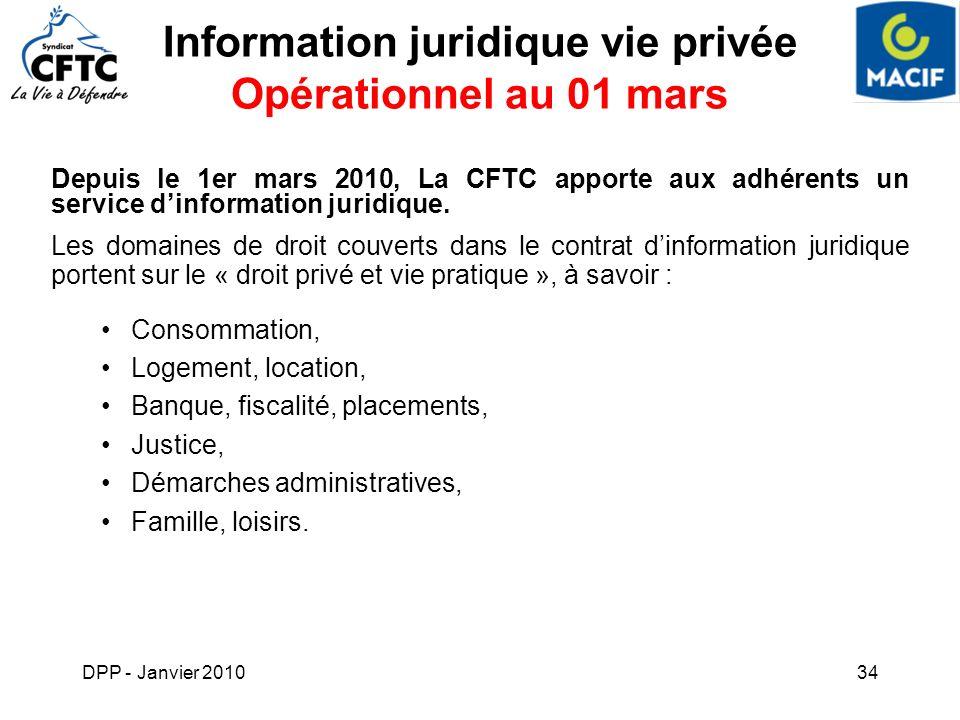 DPP - Janvier 201034 Information juridique vie privée Opérationnel au 01 mars Depuis le 1er mars 2010, La CFTC apporte aux adhérents un service dinfor