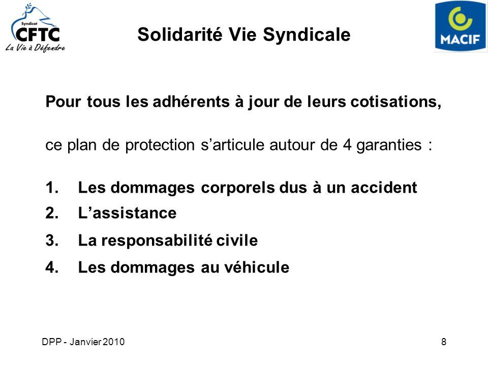 DPP - Janvier 20108 Solidarité Vie Syndicale Pour tous les adhérents à jour de leurs cotisations, ce plan de protection sarticule autour de 4 garantie