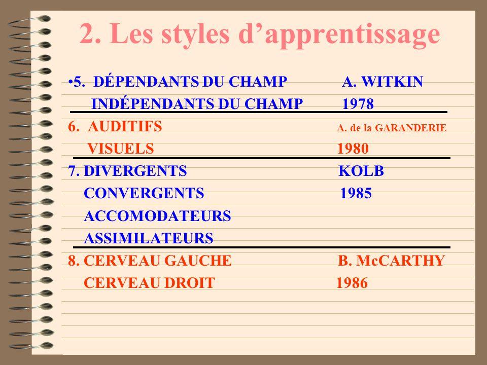 2. Les styles dapprentissage 1. CENTRATION BRUNER BALAYAGE 1956 2. IMPULSIFS J. KAGAN, PEARSON REFLEXIFS 1966 3. HOLISTES PASK et SCOTT SERIALISTES 19