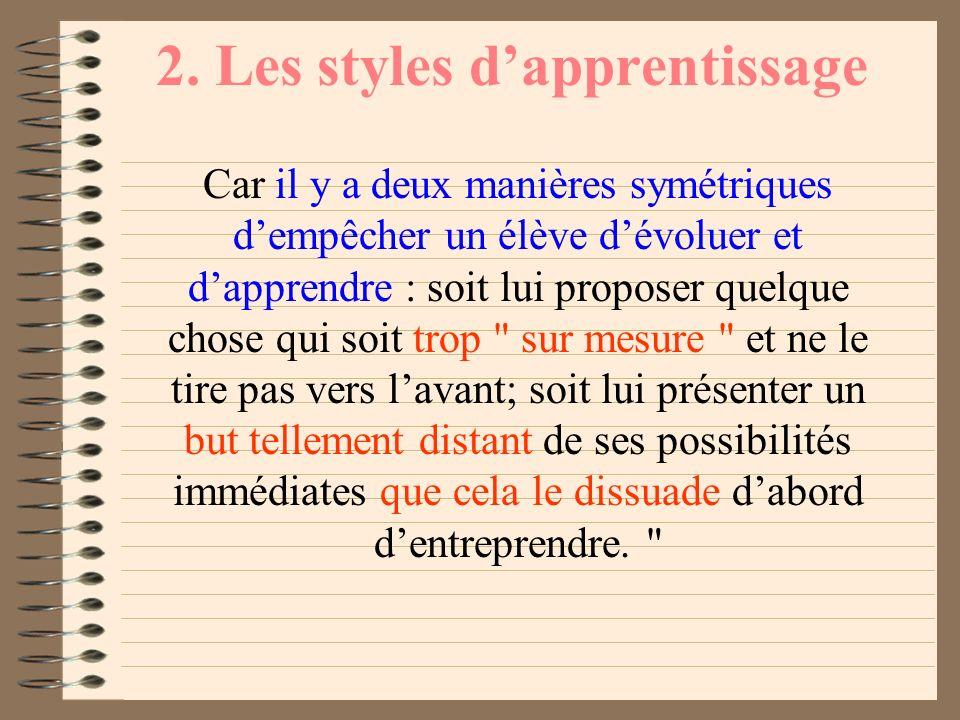 2. Les styles dapprentissage J.P. Astolfi propose trois réflexions : Il faut garder à lesprit la