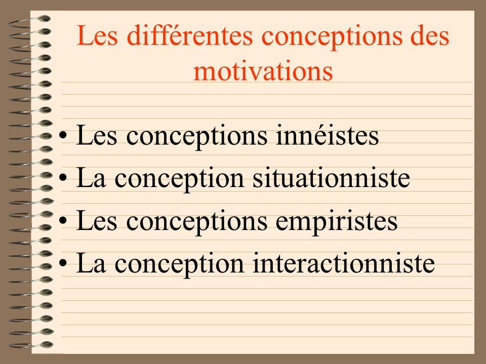 Les motivations Les significations Stimuli -clés déclencheurs des comportements instinctifs Objets et situations évocateurs des fantasmes et des arché