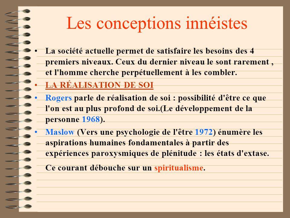 Les conceptions innéistes Certains facteurs sont internes à l'individu, inscrits en lui dès sa naissance. Freud en 1920 proposait deux grandes pulsion