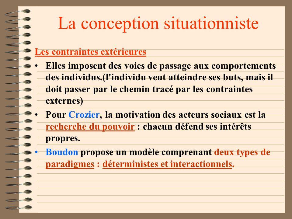 La conception situationniste Durkheim et le suicide, Marx et la lutte des classes L'égoïsme et l'anomie de la société sont facteurs de suicide. L'égoï