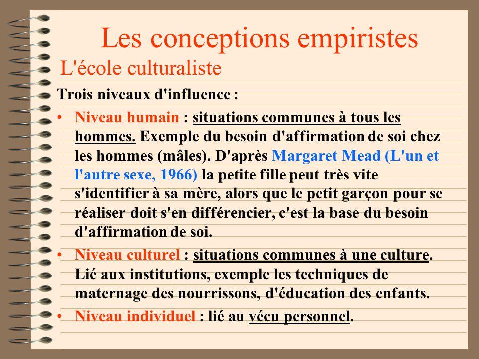 Les conceptions empiristes Horney et les névroses Cf.. La personnalité névrotique de notre temps, 1937. La culture actuelle propose des situations à b