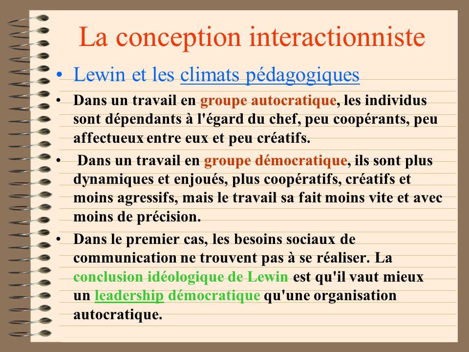 La conception interactionniste La motivation naît de l'interaction d'un sujet et de son environnement. L'individu est soumis à des motivations et à de