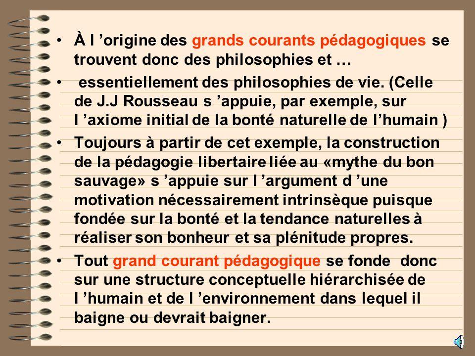 À l origine des grands courants pédagogiques se trouvent donc des philosophies et … essentiellement des philosophies de vie.